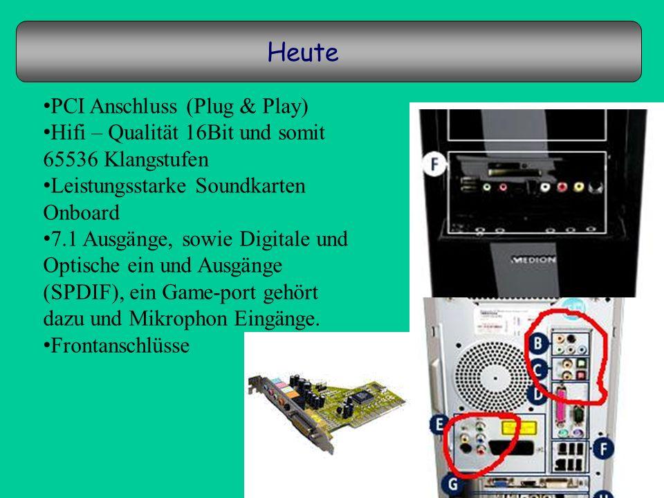 Heute PCI Anschluss (Plug & Play)