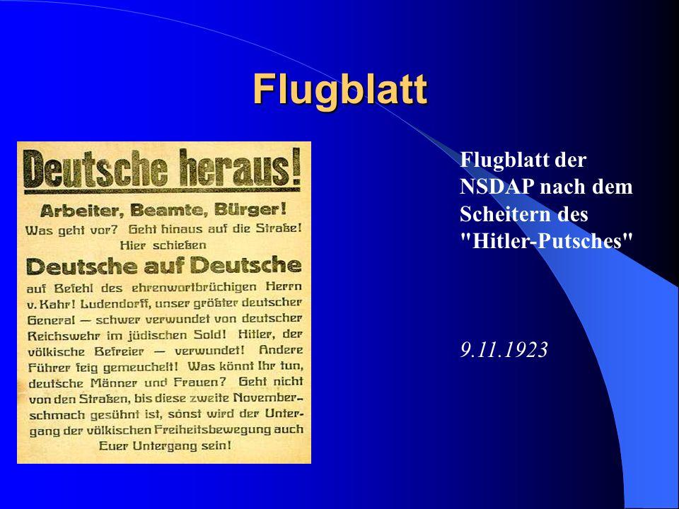 Flugblatt Flugblatt der NSDAP nach dem Scheitern des Hitler-Putsches