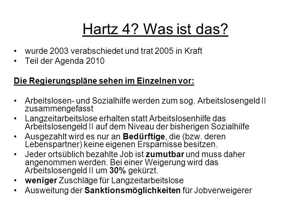 Hartz 4 Was ist das wurde 2003 verabschiedet und trat 2005 in Kraft