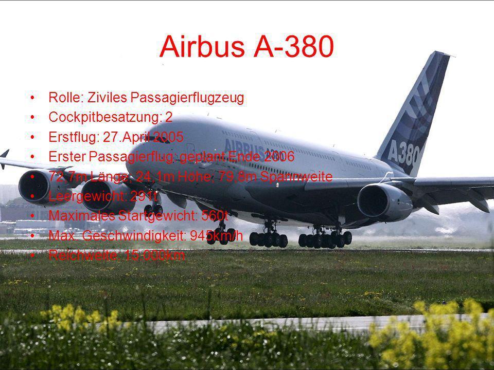 Airbus A-380 Rolle: Ziviles Passagierflugzeug Cockpitbesatzung: 2