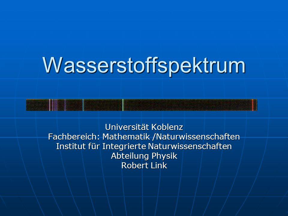 Wasserstoffspektrum Universität Koblenz