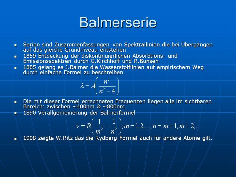 Balmerserie Serien sind Zusammenfassungen von Spektrallinien die bei Übergängen auf das gleiche Grundniveau entstehen.