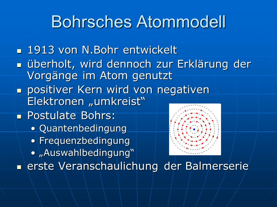 Bohrsches Atommodell 1913 von N.Bohr entwickelt