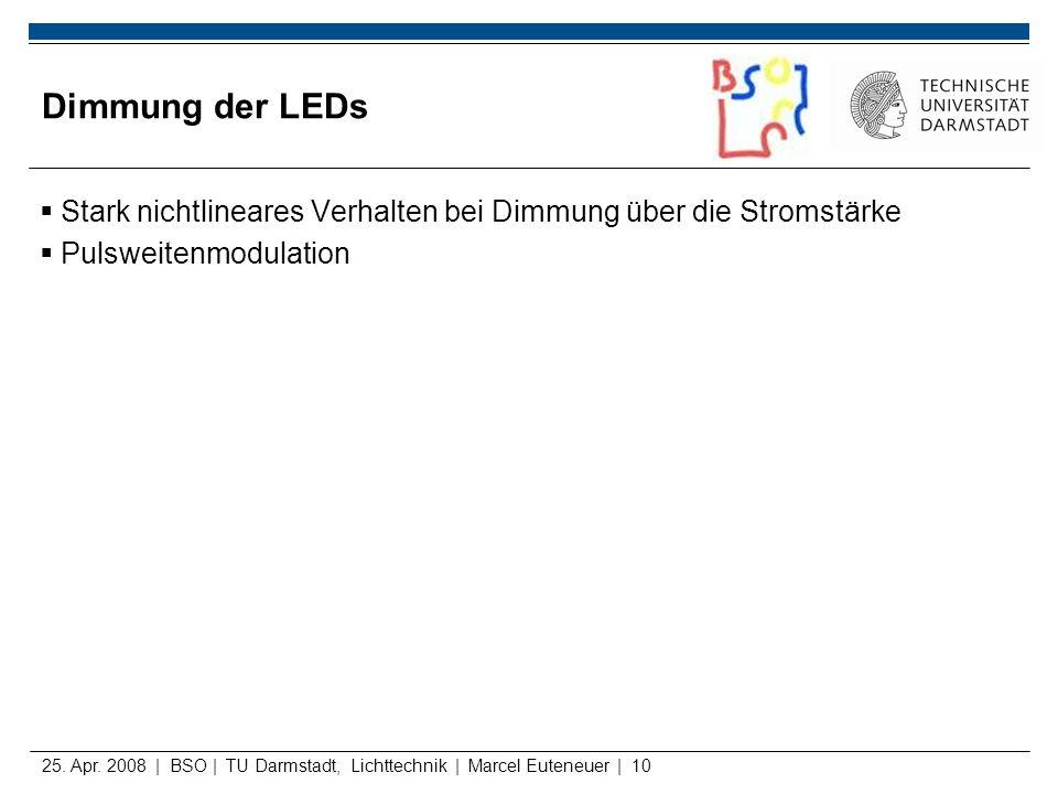 Dimmung der LEDs Stark nichtlineares Verhalten bei Dimmung über die Stromstärke. Pulsweitenmodulation.