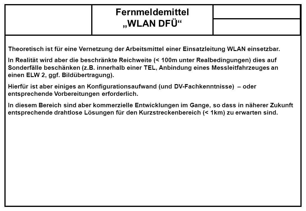 "Fernmeldemittel ""WLAN DFÜ"