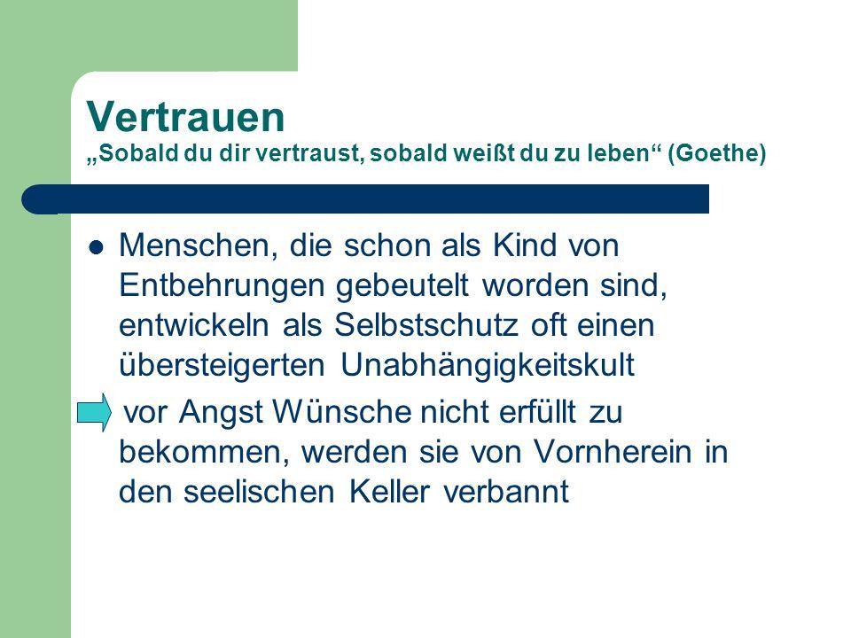"Vertrauen ""Sobald du dir vertraust, sobald weißt du zu leben (Goethe)"