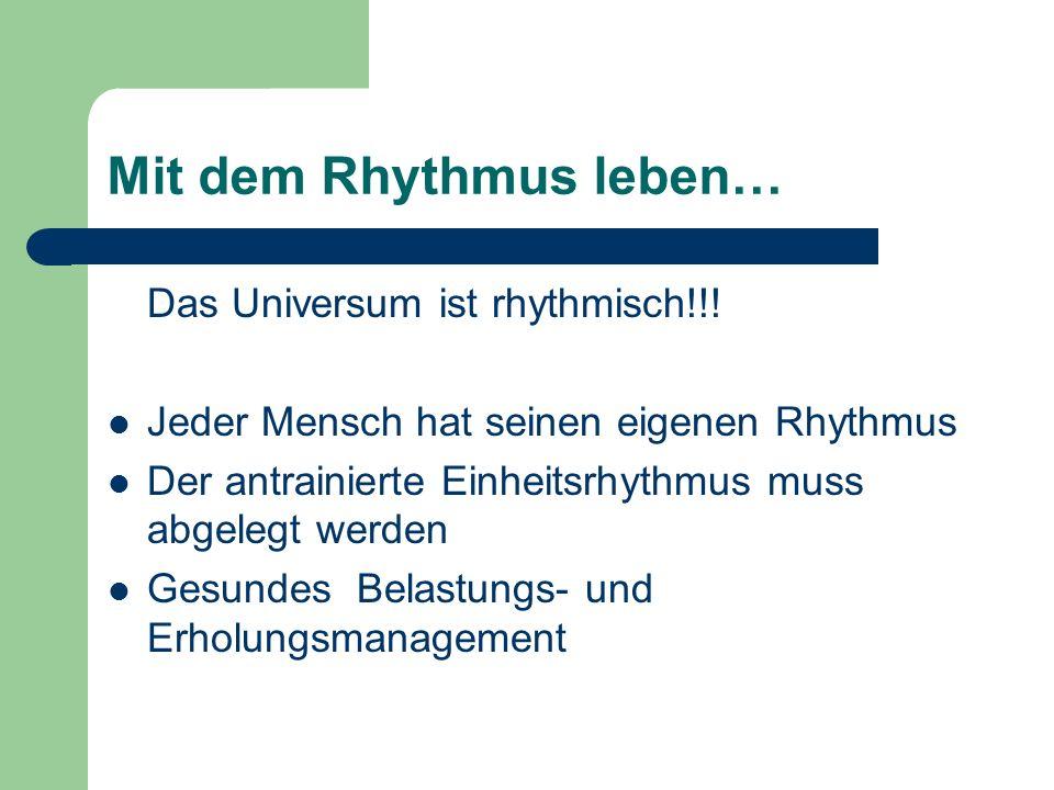 Mit dem Rhythmus leben…