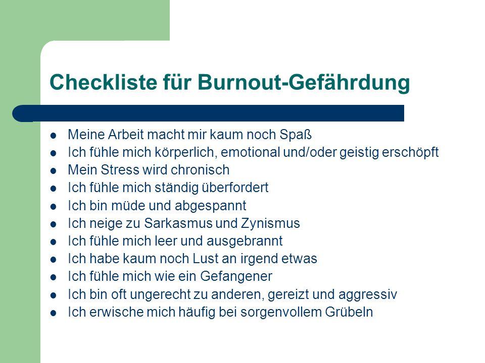 Checkliste für Burnout-Gefährdung