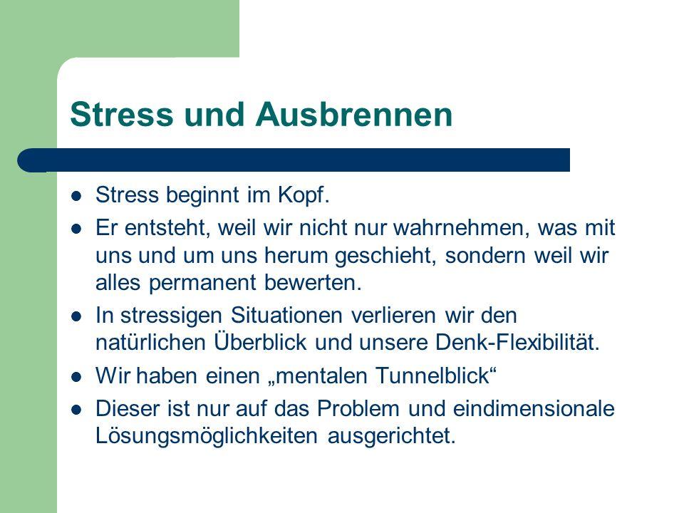 Stress und Ausbrennen Stress beginnt im Kopf.