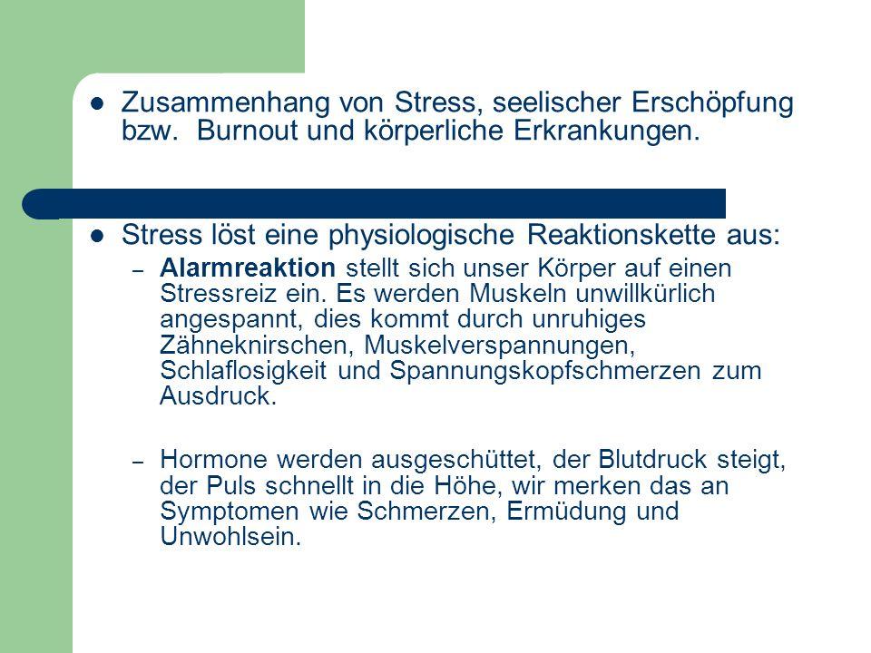 Stress löst eine physiologische Reaktionskette aus: