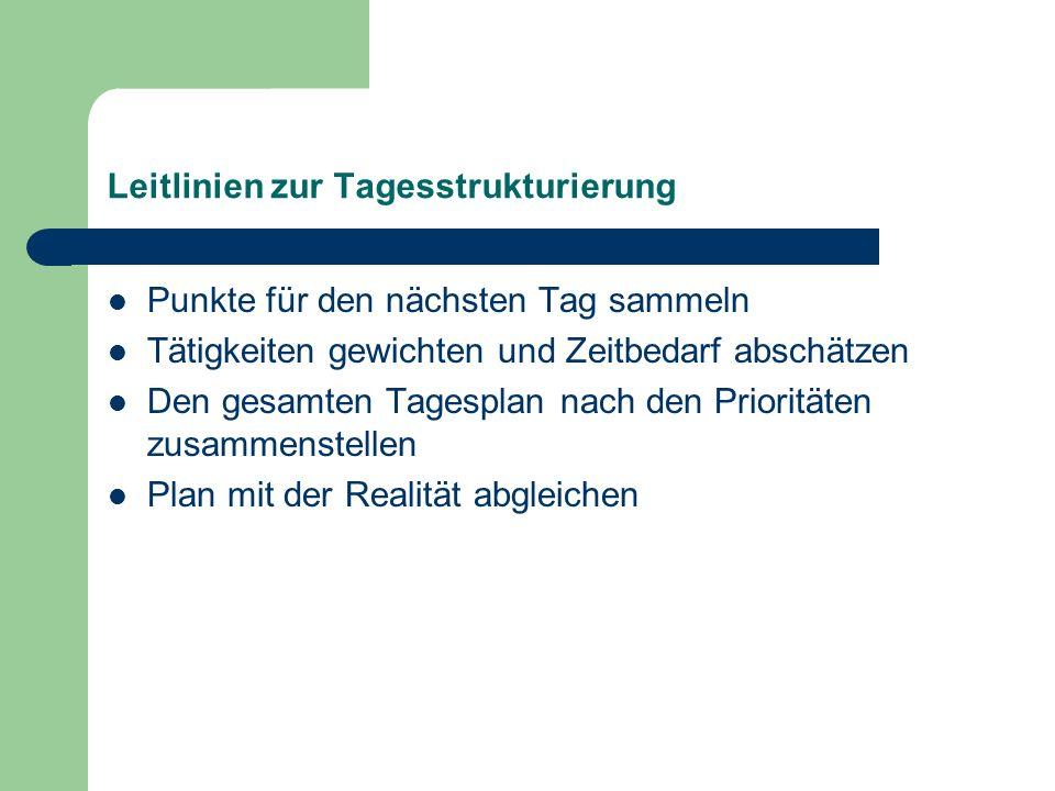 Leitlinien zur Tagesstrukturierung