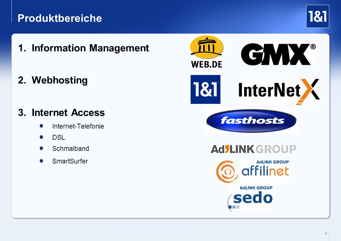 Produktbereiche Information Management Webhosting Internet Access