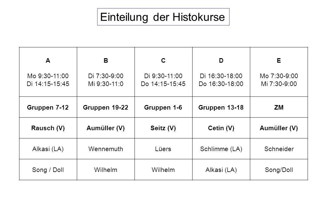 Einteilung der Histokurse
