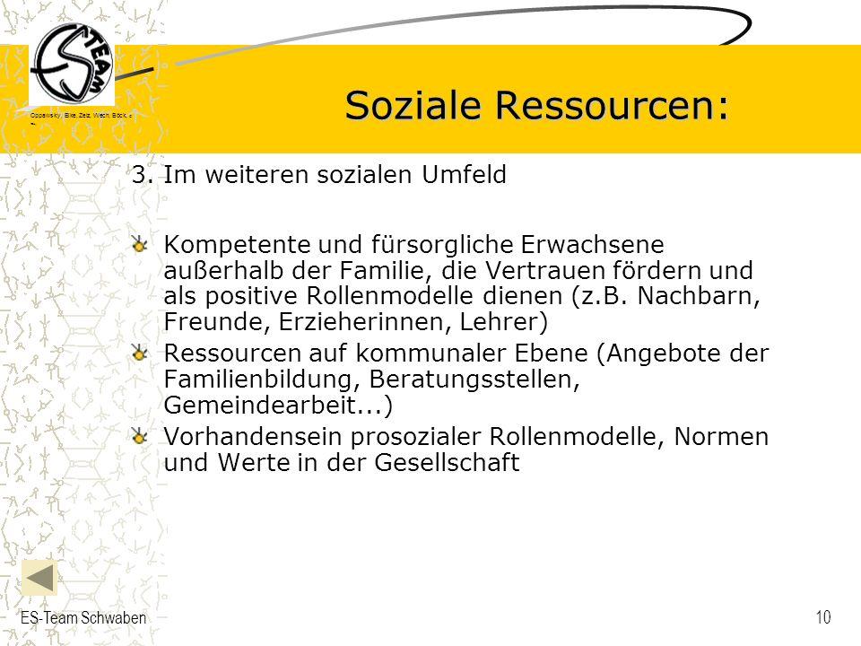 Soziale Ressourcen: 3. Im weiteren sozialen Umfeld