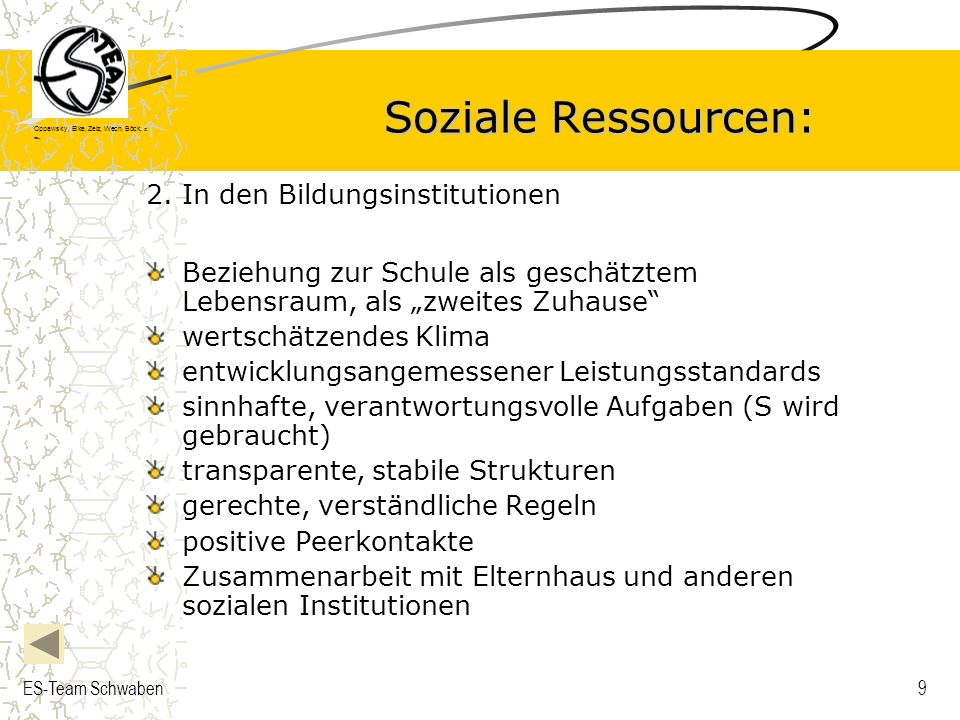 Soziale Ressourcen: 2. In den Bildungsinstitutionen