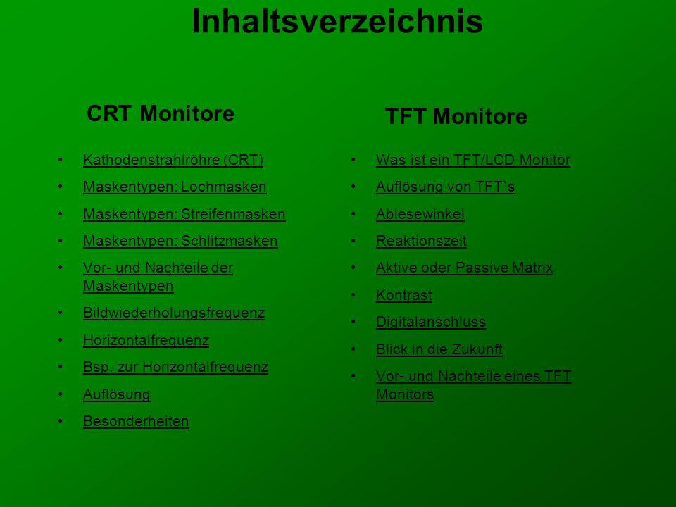 Inhaltsverzeichnis CRT Monitore TFT Monitore Kathodenstrahlröhre (CRT)