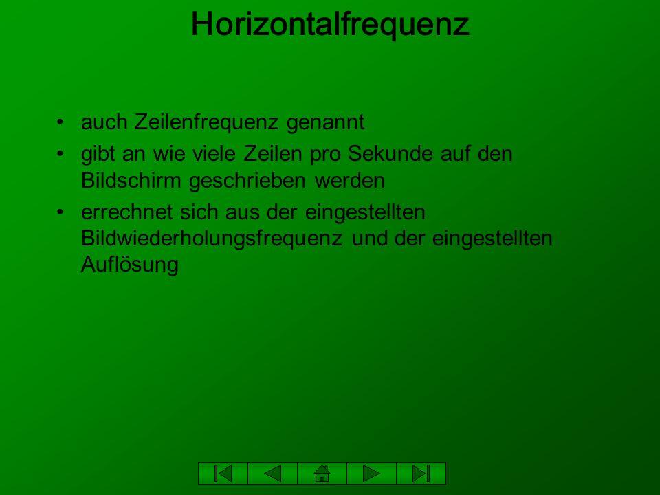 Horizontalfrequenz auch Zeilenfrequenz genannt