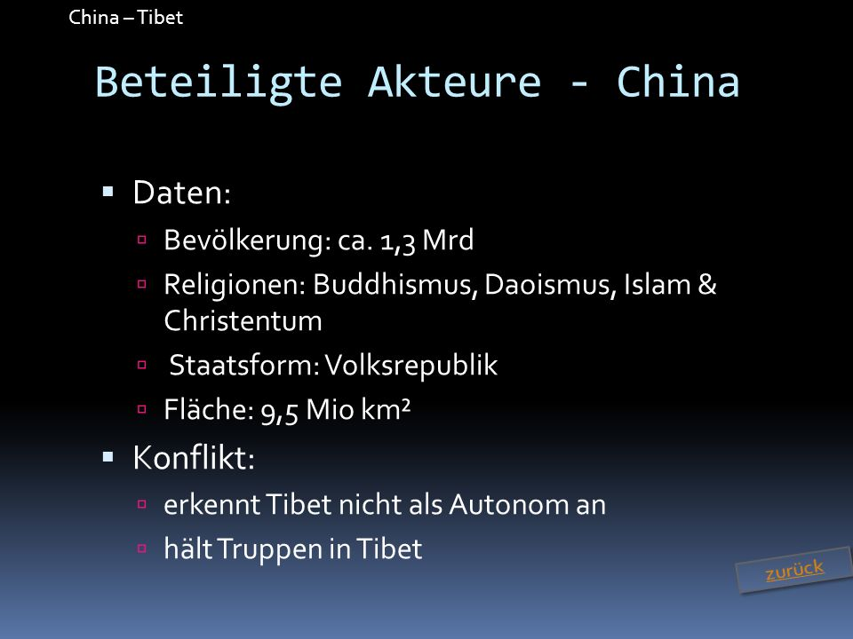 Beteiligte Akteure - China