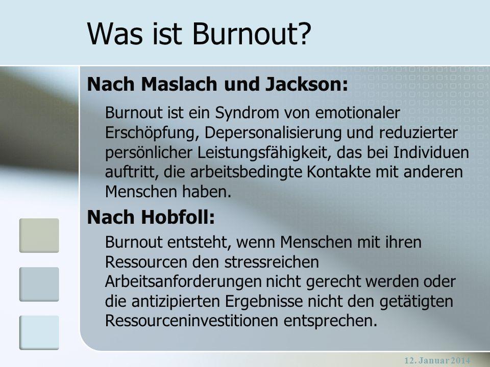 Was ist Burnout Nach Maslach und Jackson: