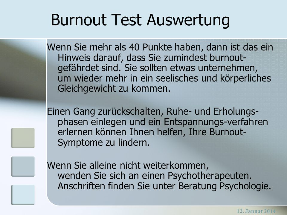 Burnout Test Auswertung