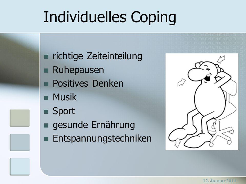 Individuelles Coping richtige Zeiteinteilung Ruhepausen