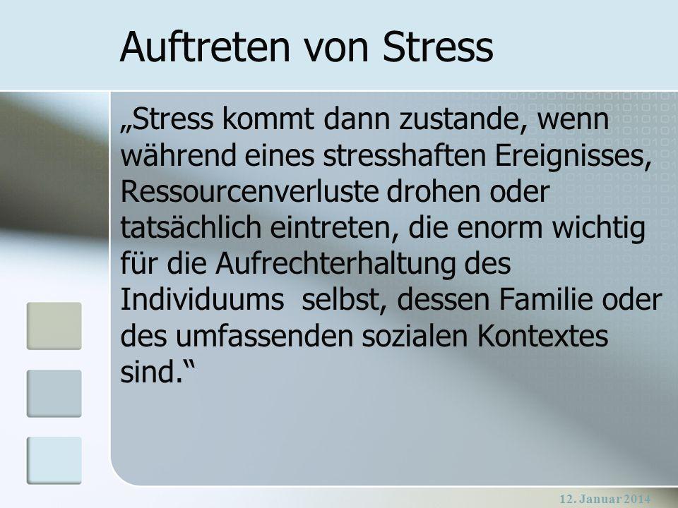 Auftreten von Stress