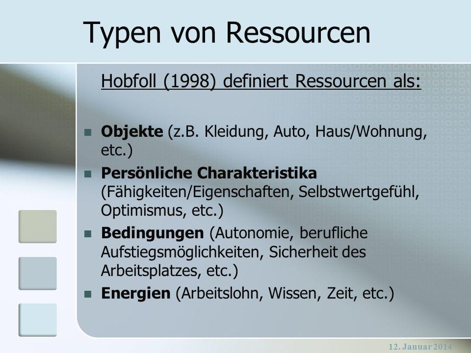 Typen von Ressourcen Hobfoll (1998) definiert Ressourcen als: