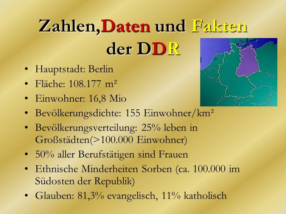 Zahlen,Daten und Fakten der DDR