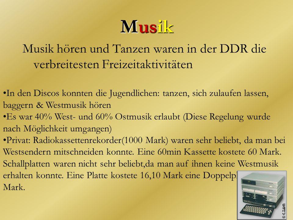 Musik Musik hören und Tanzen waren in der DDR die verbreitesten Freizeitaktivitäten.