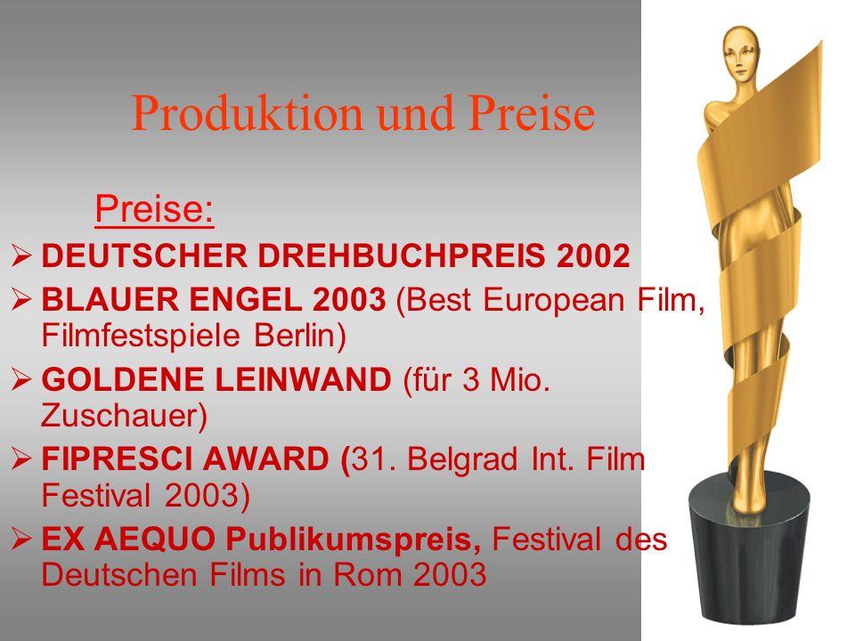 Produktion und Preise Preise: DEUTSCHER DREHBUCHPREIS 2002