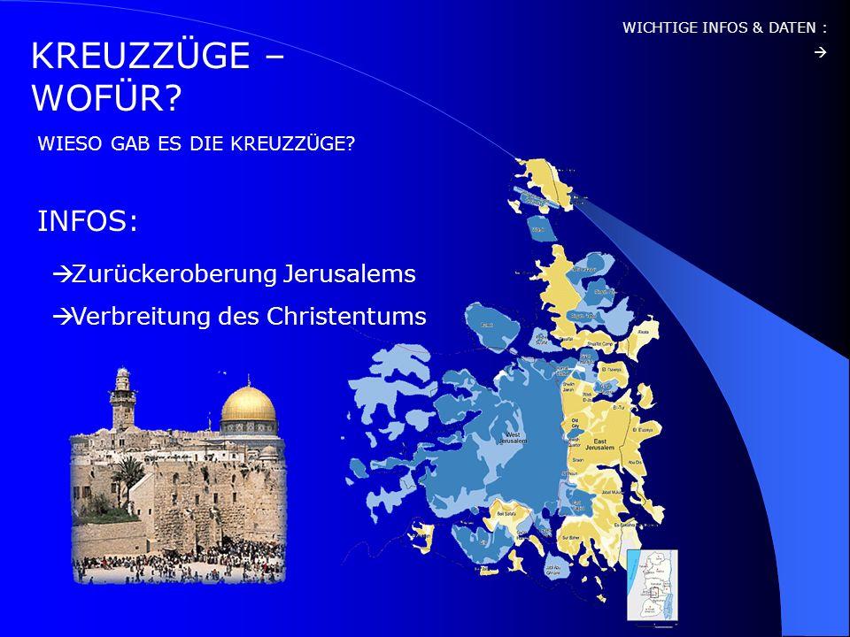 KREUZZÜGE – WOFÜR INFOS: Zurückeroberung Jerusalems