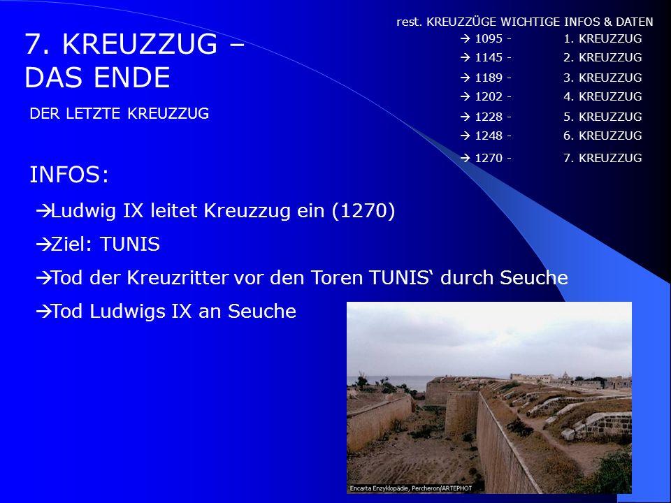 7. KREUZZUG – DAS ENDE INFOS: Ludwig IX leitet Kreuzzug ein (1270)