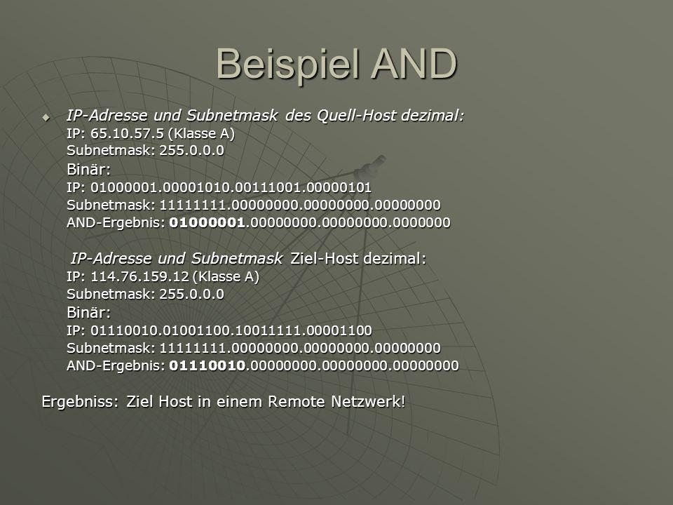Beispiel AND IP-Adresse und Subnetmask des Quell-Host dezimal: