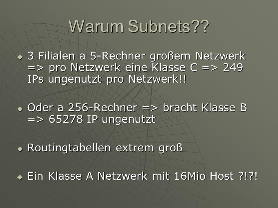 Warum Subnets 3 Filialen a 5-Rechner großem Netzwerk => pro Netzwerk eine Klasse C => 249 IPs ungenutzt pro Netzwerk!!
