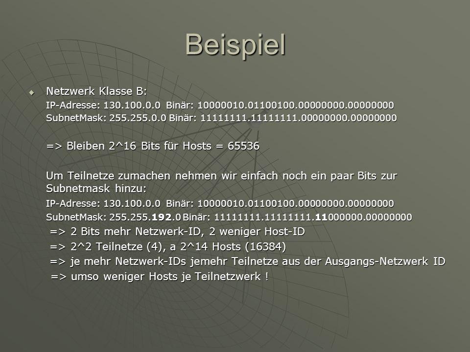 Beispiel Netzwerk Klasse B: => Bleiben 2^16 Bits für Hosts = 65536
