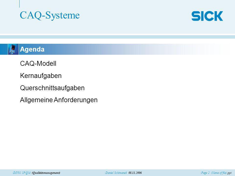 CAQ-Systeme Agenda CAQ-Modell Kernaufgaben Querschnittsaufgaben