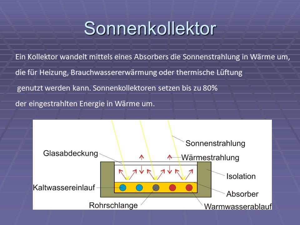 Sonnenkollektor Ein Kollektor wandelt mittels eines Absorbers die Sonnenstrahlung in Wärme um,