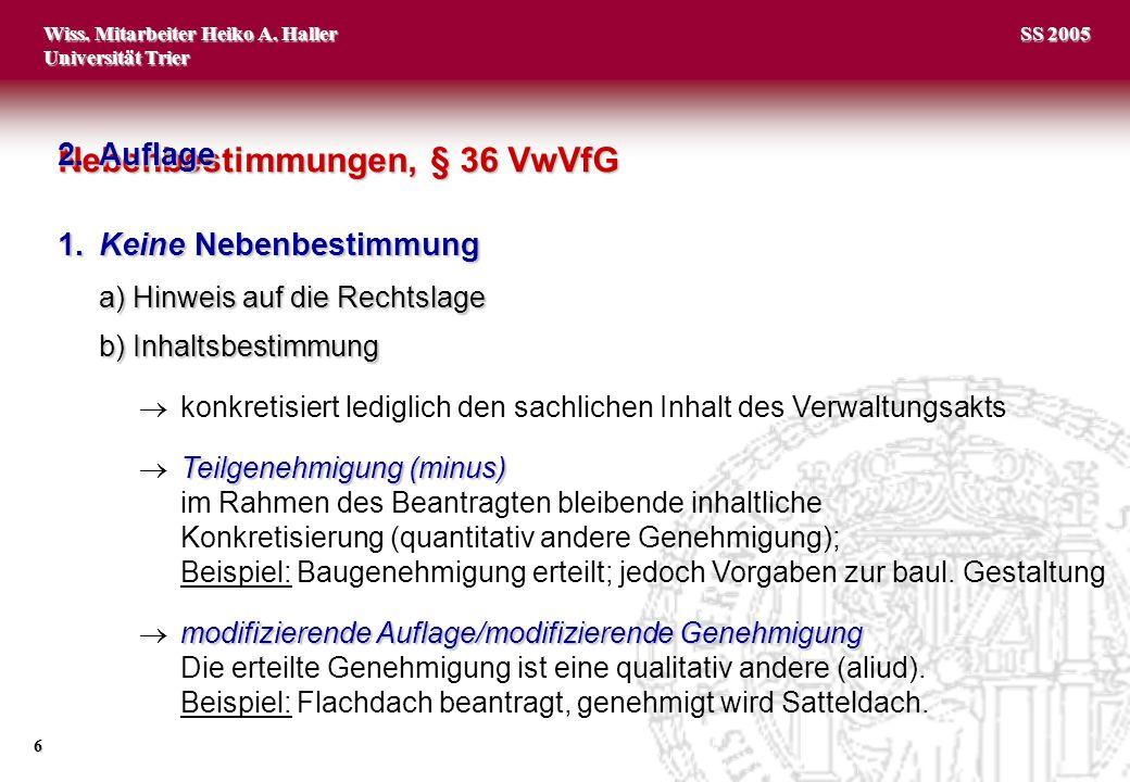 Nebenbestimmungen, § 36 VwVfG