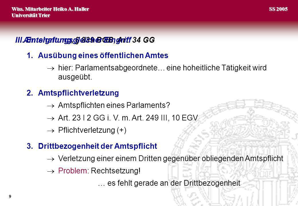 II. Amtshaftung, § 839 BGB, Art. 34 GG