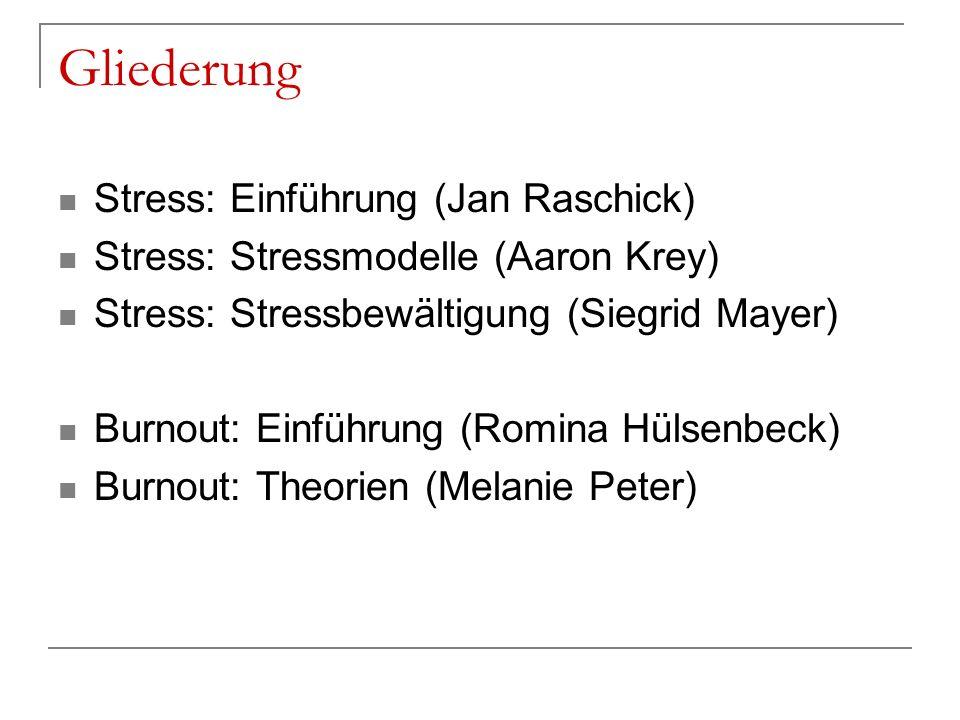 Gliederung Stress: Einführung (Jan Raschick)