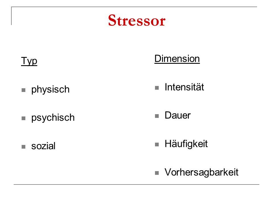 Stressor Dimension Typ Intensität physisch Dauer psychisch Häufigkeit