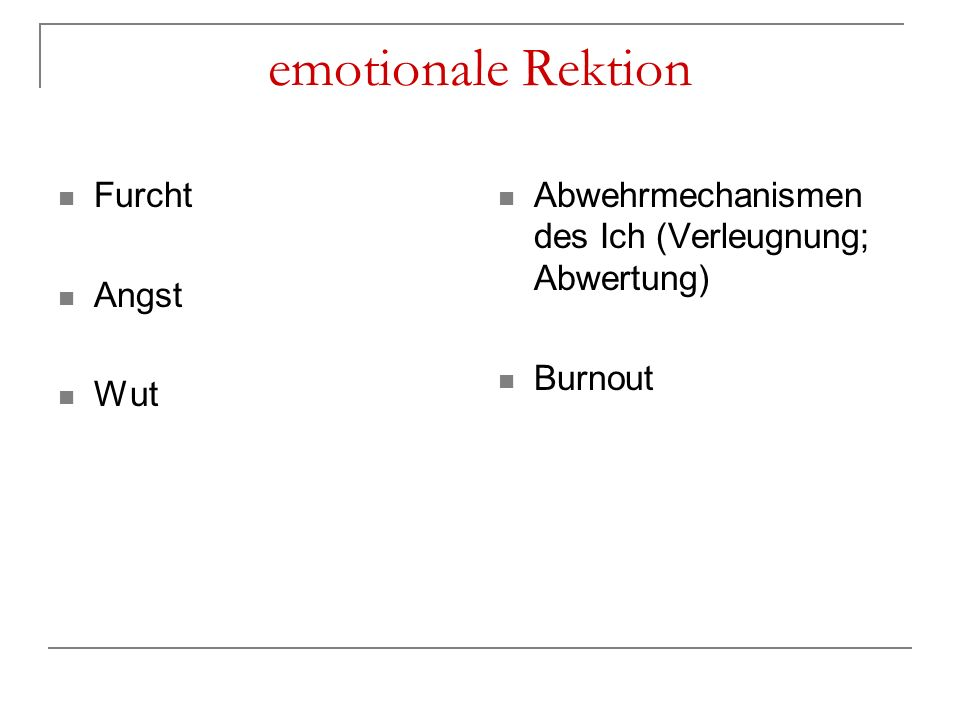 emotionale Rektion Furcht Angst Wut