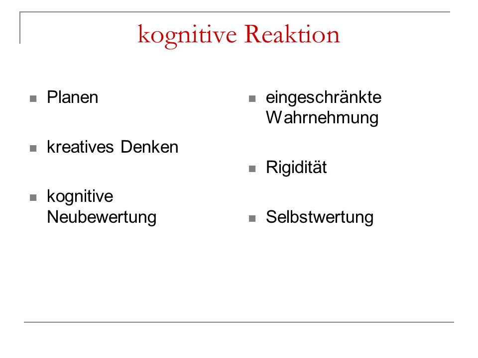 kognitive Reaktion Planen kreatives Denken kognitive Neubewertung