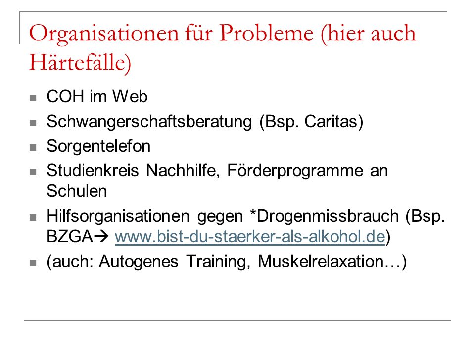 Organisationen für Probleme (hier auch Härtefälle)