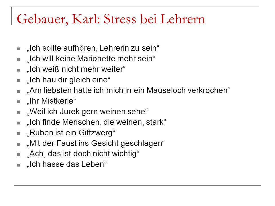 Gebauer, Karl: Stress bei Lehrern