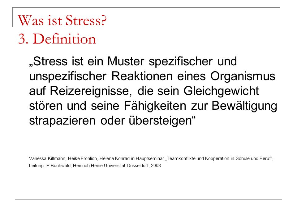 Was ist Stress 3. Definition