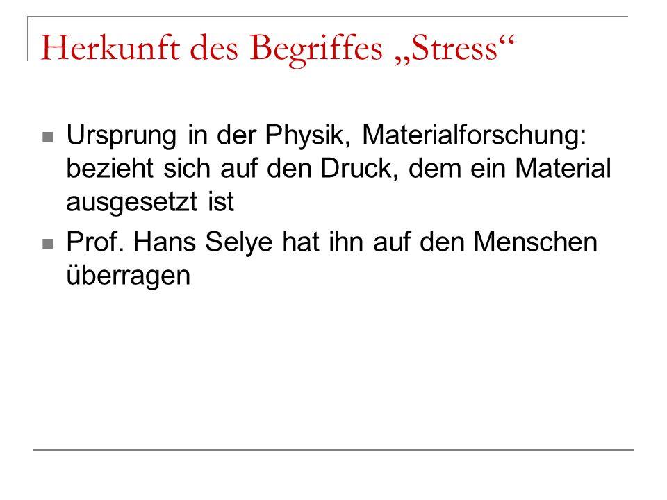 "Herkunft des Begriffes ""Stress"