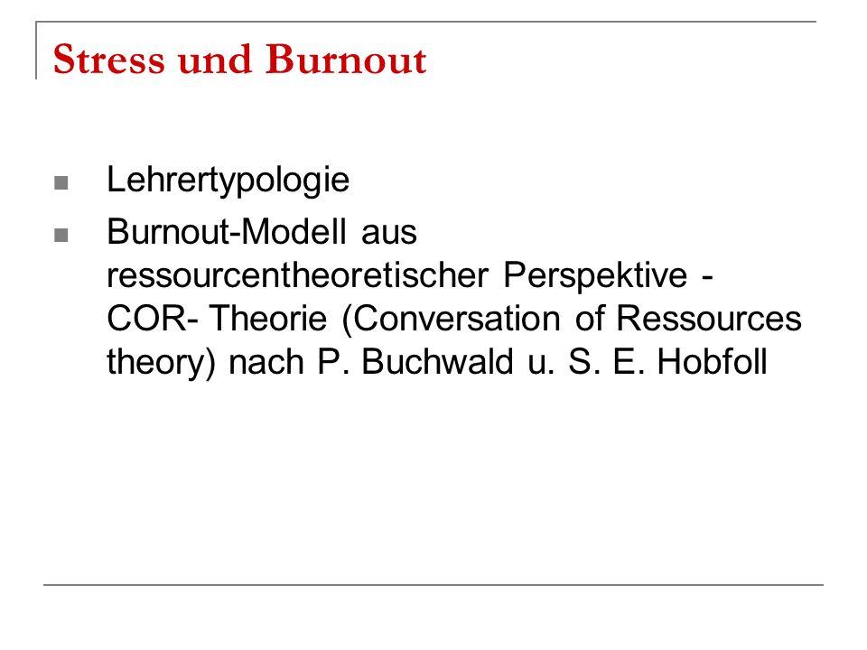 Stress und Burnout Lehrertypologie