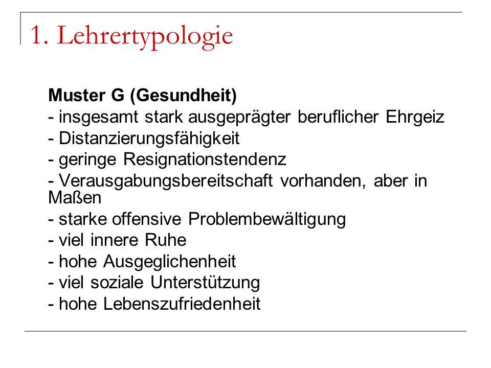 1. Lehrertypologie Muster G (Gesundheit)