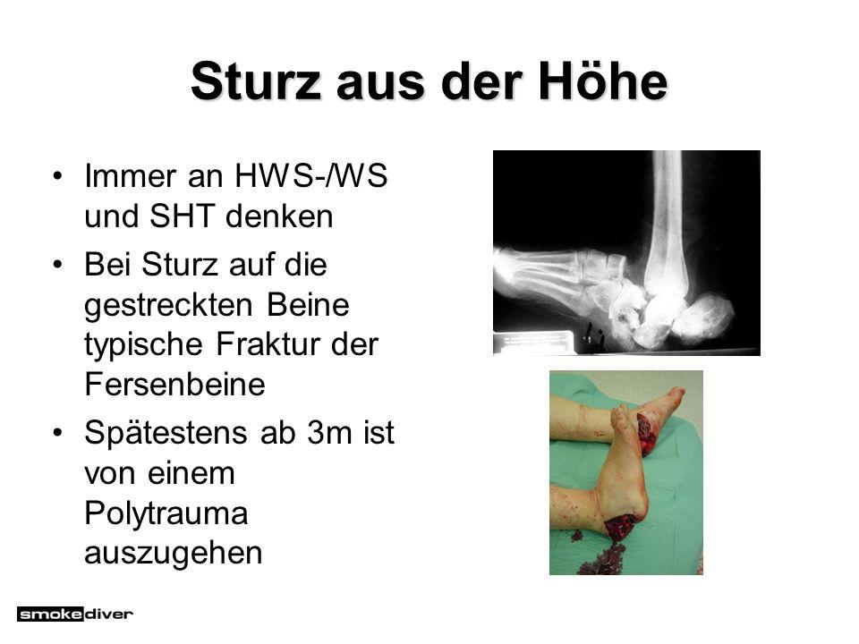 Sturz aus der Höhe Immer an HWS-/WS und SHT denken